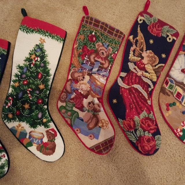 Lands End Christmas Stockings.Lands End Needlepoint Stockings