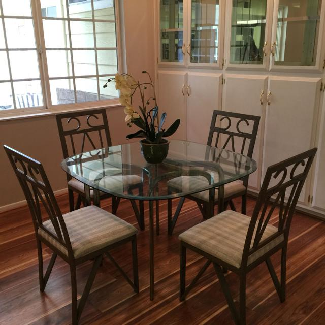 Find more Reduced!!! Kitchen Table Brass Legs With Glass Top Chairs ...