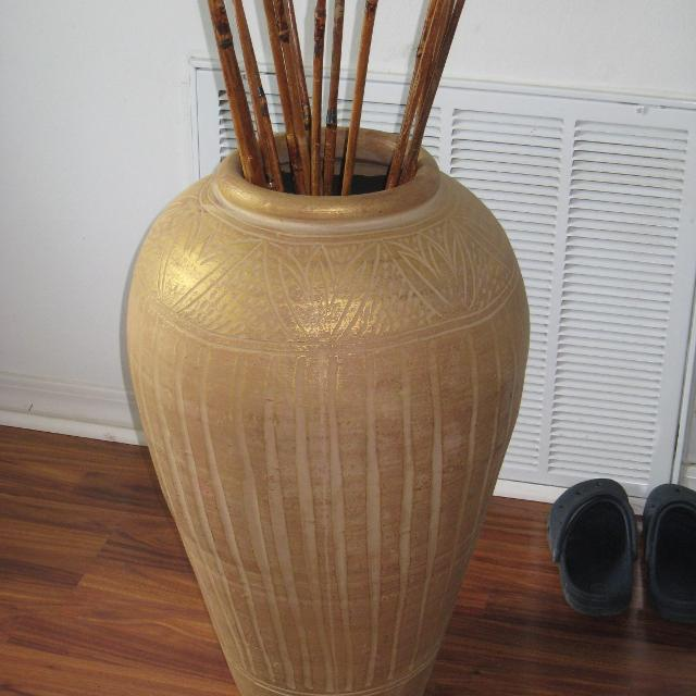 Floor Vase With Bamboo Sticks