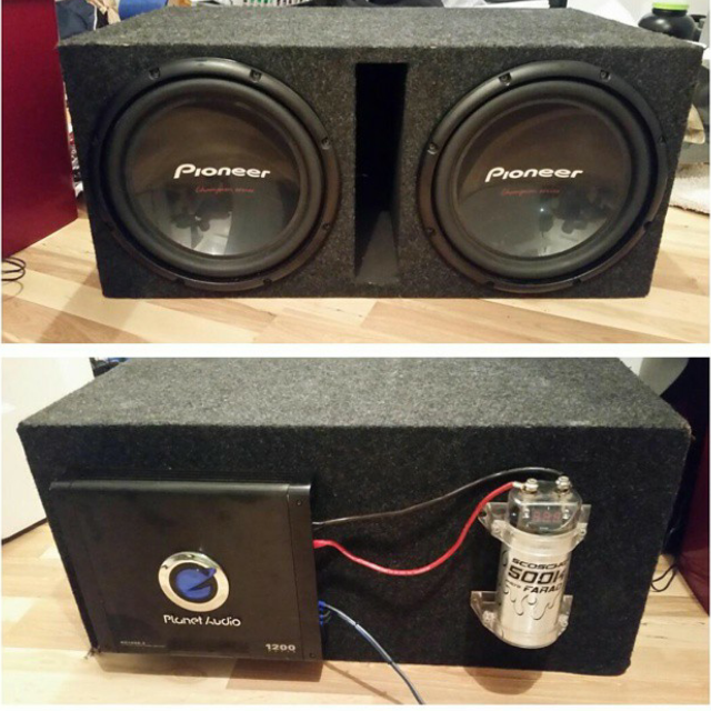 Best Two 12's In Sub Box With Amp And Capacitor for sale in Hoover