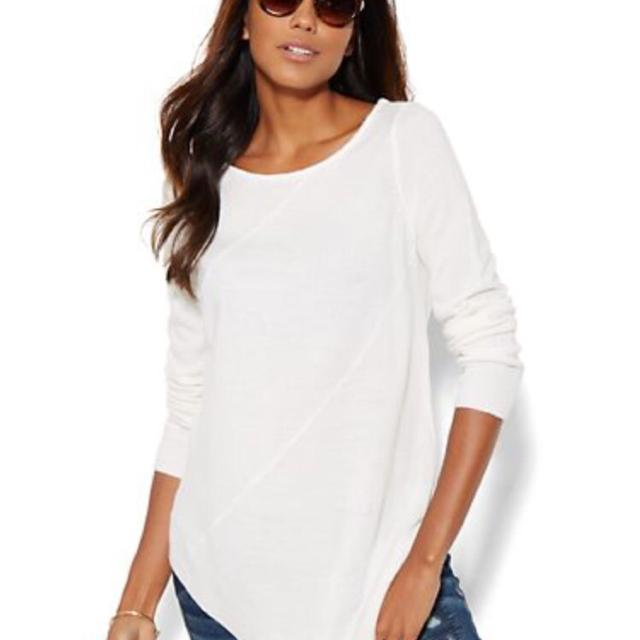 Find more Asymmetrical Tunic Sweater In Winter White From New York ...
