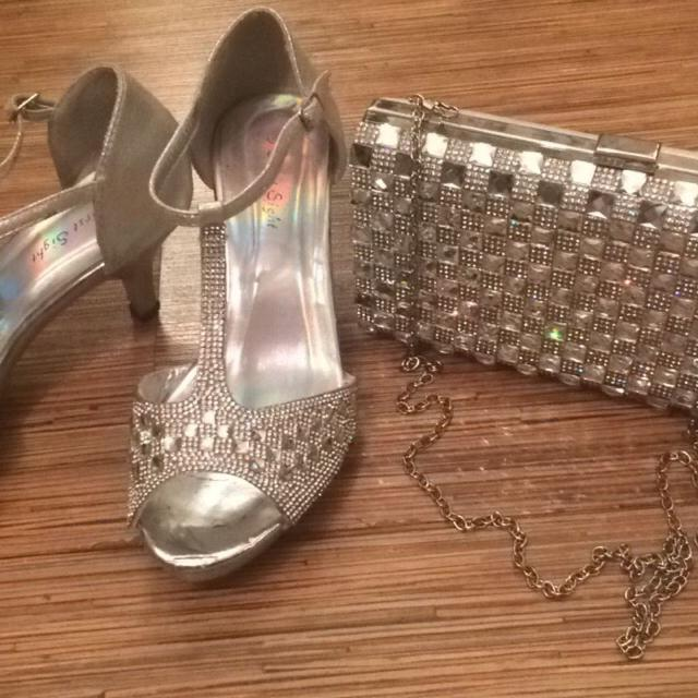 833a4e00323 Prom shoes+clut! Sparkly diamond heels