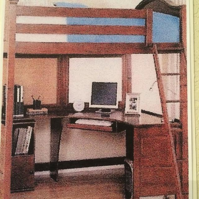LOFT BED (full size) with DESK underneath. Excellent condition. FCFS/CP.  Heavy duty. Dark cherry wood finish. Partially assembled.