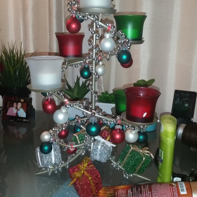Party lite Christmas tree! I added ornaments and little holiday decor! Has  tea light - Find More Party Lite Christmas Tree! I Added Ornaments And Little