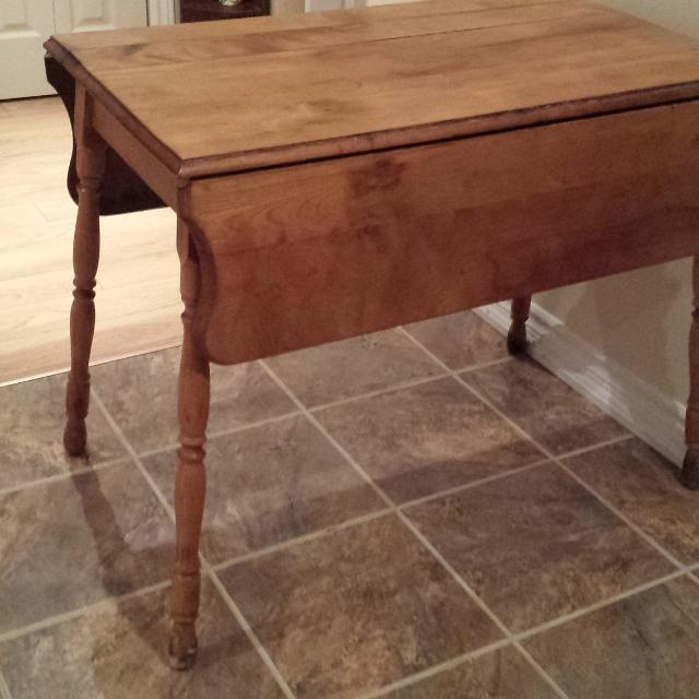 Antique Drop Leaf Table With Beautifully Turned Legs Solid Wood Original Wooden Pullout Arms