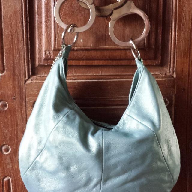 Pearlized Italian Leather Handcuff Handbag