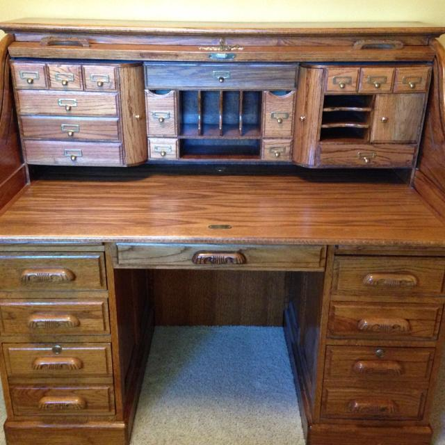 Oak Roll Top Desk With Key Lots Of Storage Cubby Holes And Bottom File