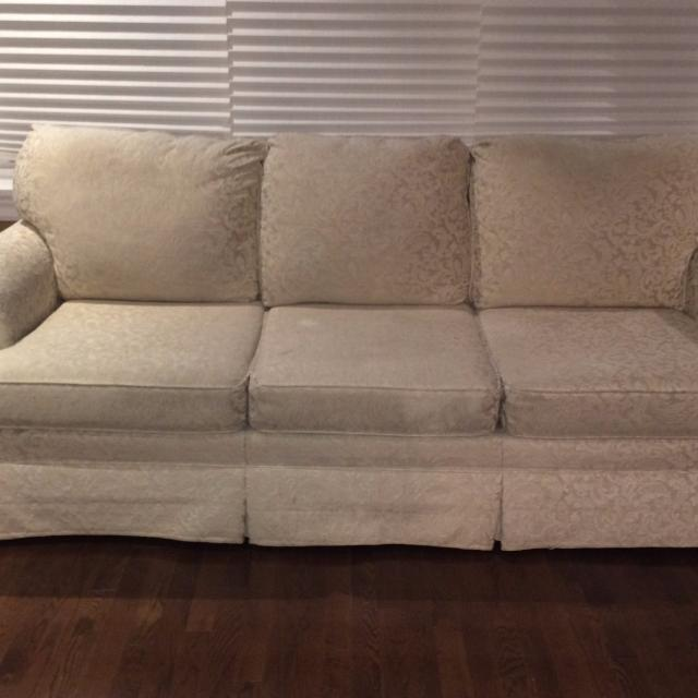 Off White Brocade Sofa