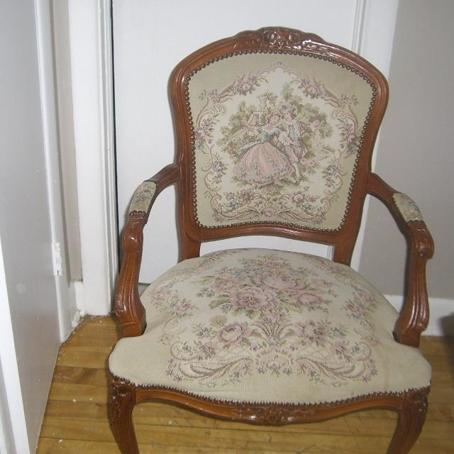antique QUEEN ANNE armchair limoges lovers tapestry carved wood - Best Antique Queen Anne Armchair Limoges Lovers Tapestry Carved