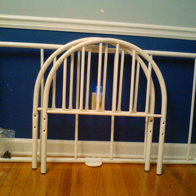 white cosco metal toddler bed frame and mattress - Metal Toddler Bed Frame
