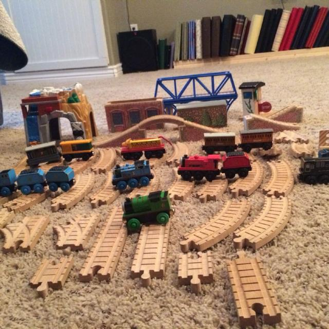 Thomas The Train Wooden Set Includes Tunnels Tracksbridges 11 Trains Plus Additional Tenders Plus Talking Fisher Price Mountain Tunnel