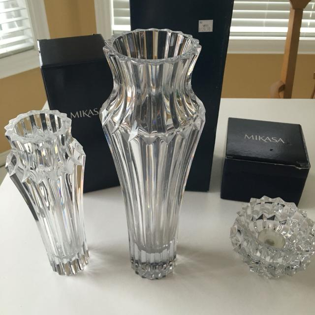 Find More Bnib 3 Piece Mikasa Crown Jewel Crystal Set Vase Bud