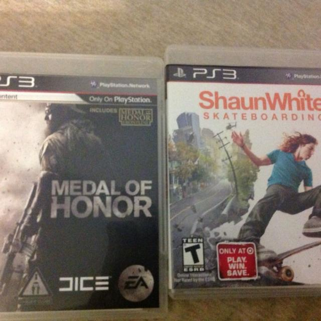 PlayStation 3 games  Medal of Honor & Sean White Skateboarding with online  codes