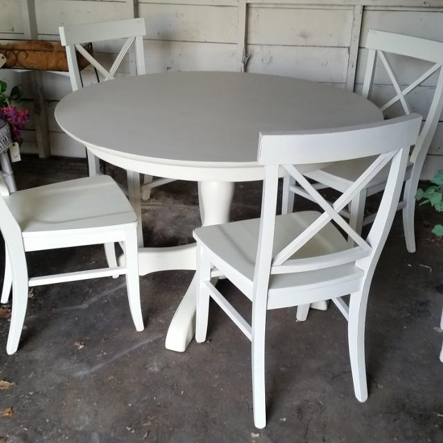 Pottery Barn Dining Set Mint Aris Pedestal Table And Aaron Side Chairs 55000