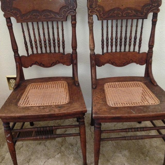 Two Matching Antique Oak Pressed Back Chairs with Cane Seating - 1900's - Best Need Gone! Two Matching Antique Oak Pressed Back Chairs With