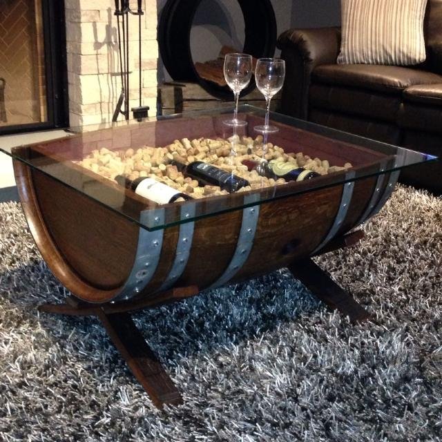 Wine Barrel Coffee Table.Custom Made Solid Oak Wine Barrel Coffee Table