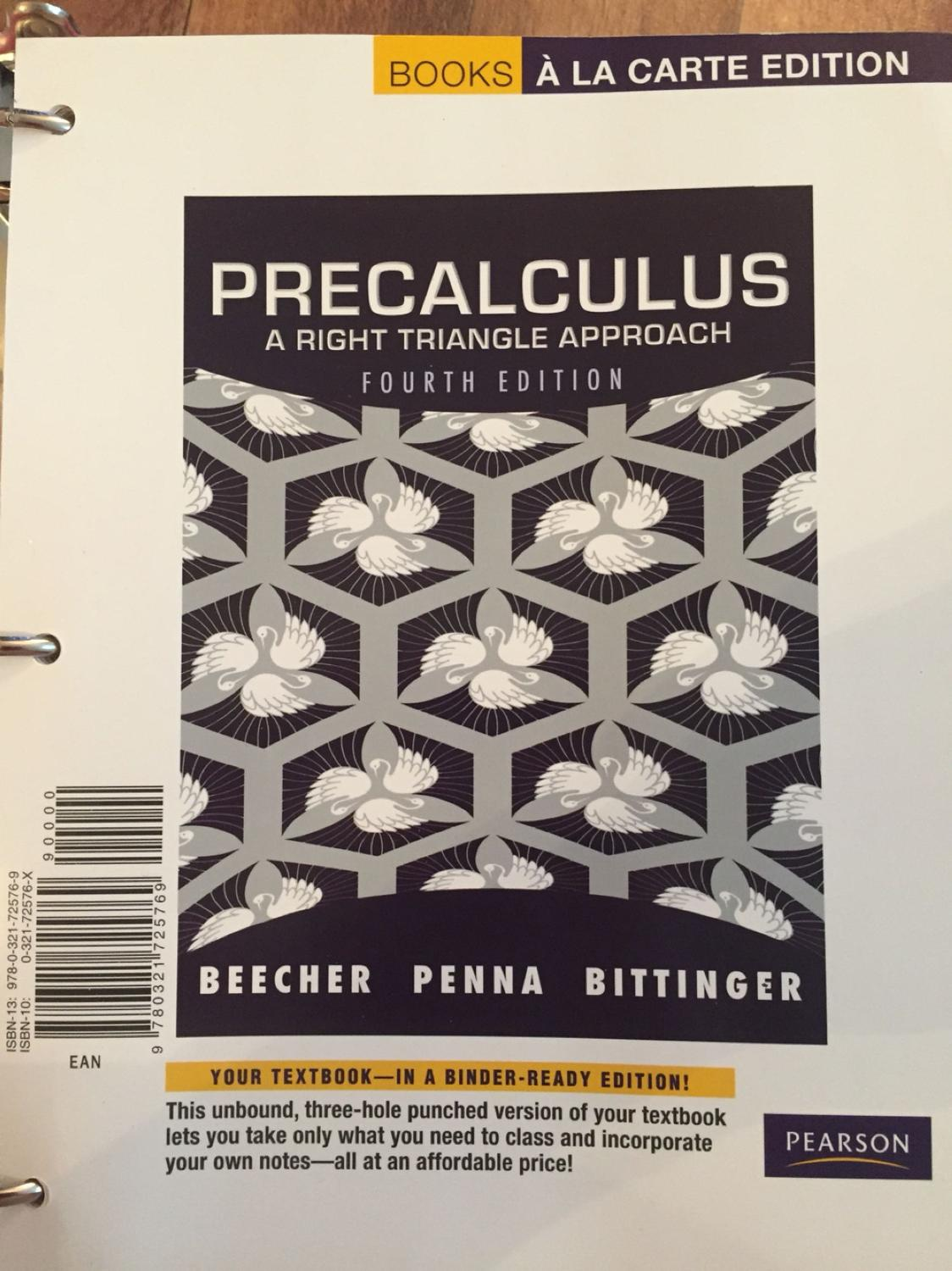 Precalculus textbook for MA 113 at South