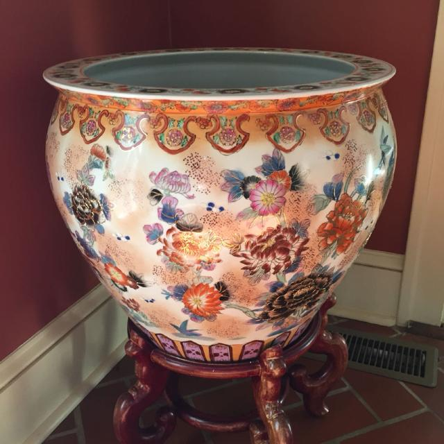 Chinese Fish Bowl Planter And Stand