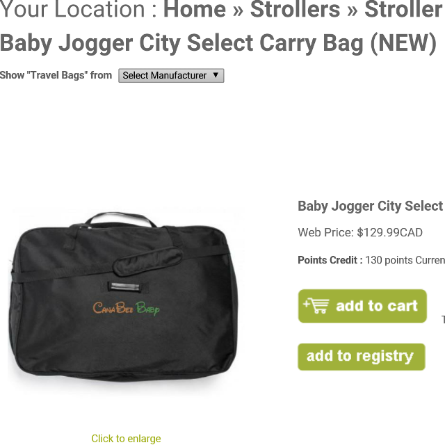City Select Stroller Carry Bag 20 For