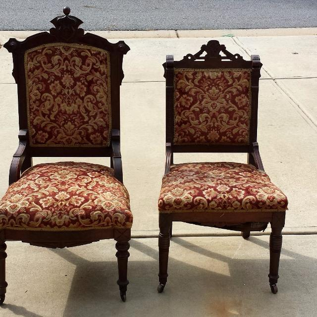 Pair of Antique King & Queen Eastlake Parlor chairs - Find More Pair Of Antique King & Queen Eastlake Parlor Chairs For
