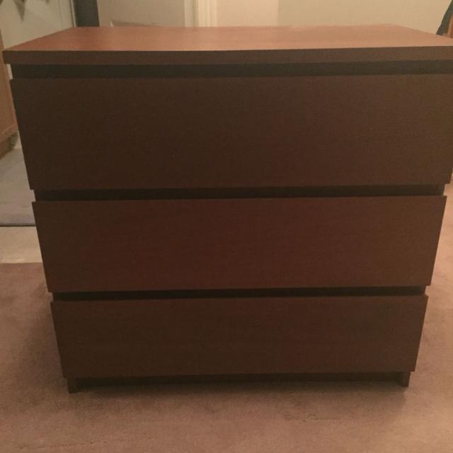 Malm Ikea Brown Dresser 3 Drawers Euc 2 Yrs Old New Price 30