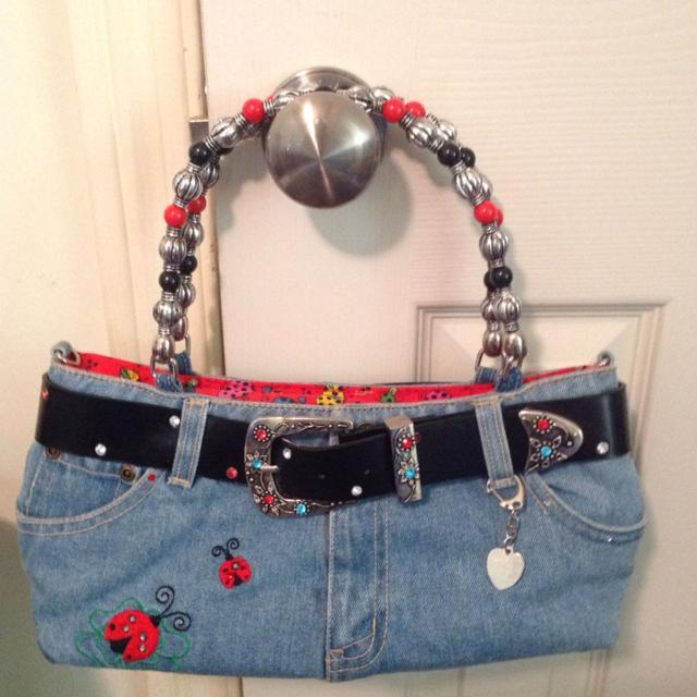 011ebf4309 Cute denim purse with lots of bling and ladybug accents. Size of purse is  12.5