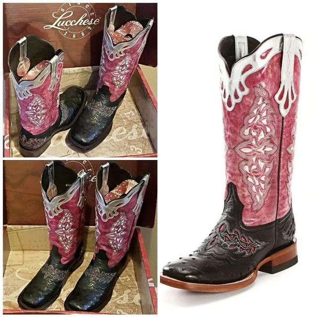 5b155572b7f Lucchese Black and Pink Square Toe Ostrich Cowboy Boots Women's Size 11 M