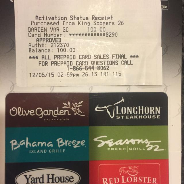 Find more 6 restaurant 100 gift card olive garden - Olive garden gift card at red lobster ...