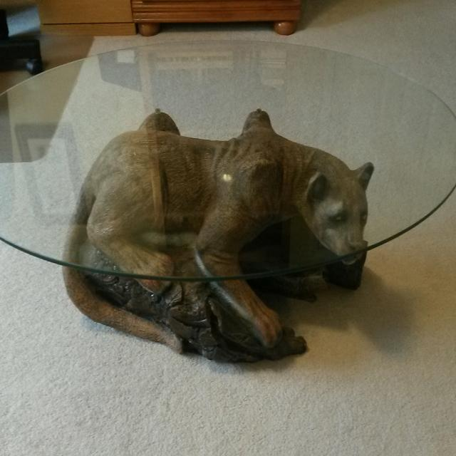 Mountain lion coffee table with oval glass top - Find More Mountain Lion Coffee Table With Oval Glass Top For Sale