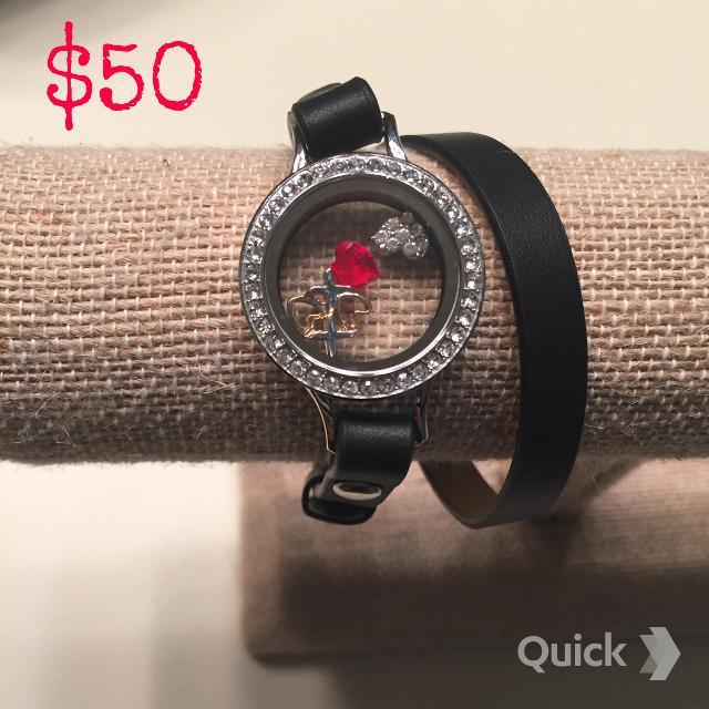 Origami Owl Leather Wrap Bracelets w/ Lockets Free Shipping   640x640