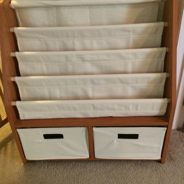 One Step Ahead Sling Bookshelf With Storage Bins