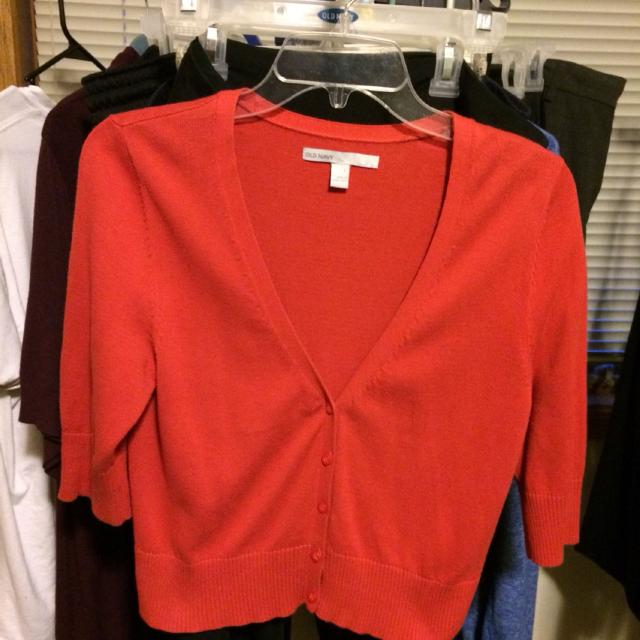 Find more Old Navy - Size L - Dark Orange/red Cropped Cardigan 3/4 ...
