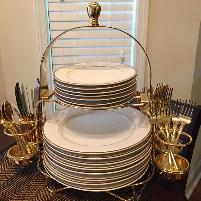 Home Collection Regency Gold Rim Buffet Set with a Gold Caddy. Retails at  JC Penney - Find More Home Collection Regency Gold Rim Buffet Set With A Gold