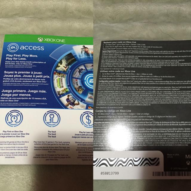 EA ACCESS code for Xbox one!!! Code not used as you can see  REDUCED!!!!