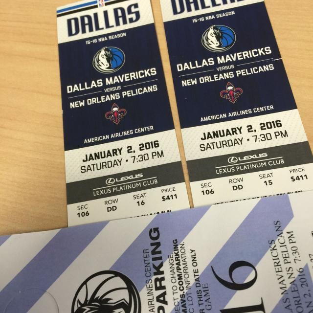 Dallas Mavericks Vs New Orleans Floor Seats Center Court Sec 106 2 Seats