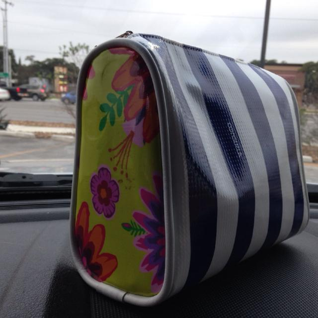 Navy And White Striped New Consuela Large Cosmetic Bag 7x9