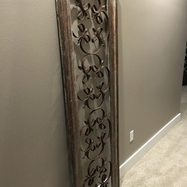 Wrought Iron Wood Framed Wall Decor Rustic Distressed Neutral Colors 5