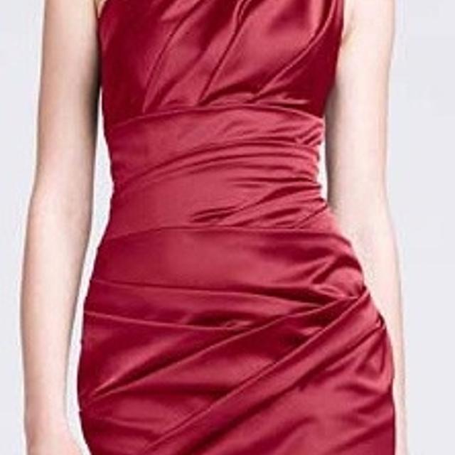 David S Bridal One Shoulder Stretch Satin Dress Apple Sz 4 New