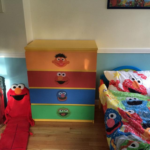 best sesame street/elmo toddler bed, (ikea) dresser, bedroom set