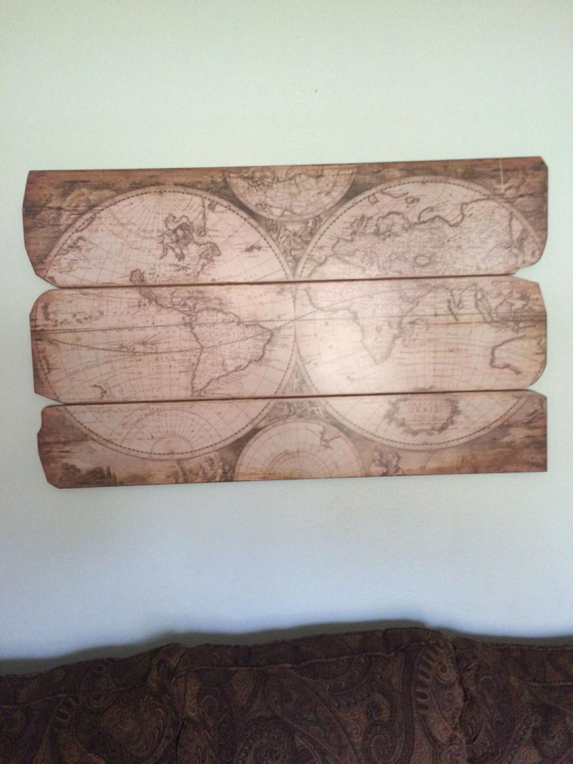 Find more Unique Old World Map On Wood Planks for sale at up to 90% off