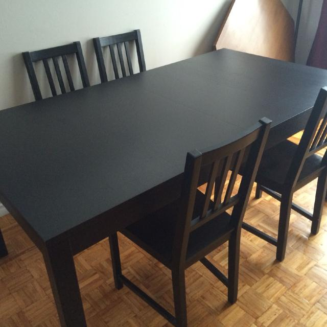 find more ikea bjursta extendable table and four stefan chairs 195 for sale at up to 90 off. Black Bedroom Furniture Sets. Home Design Ideas