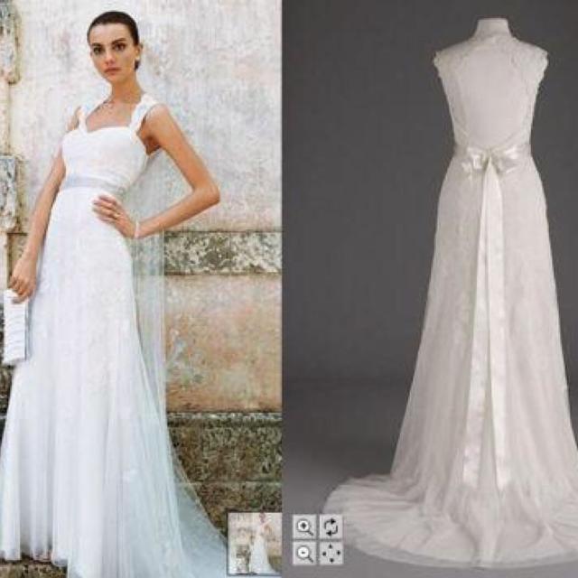 Best David\'s Bridal Lace Keyhole Wedding Dress (size 2, No ...