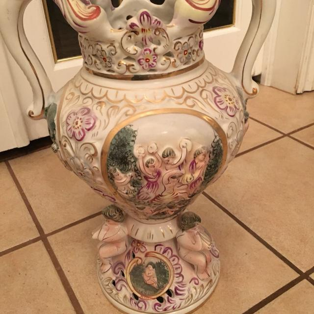 Best Large Vintage Capodimonte Urn Made In Italy For Sale In