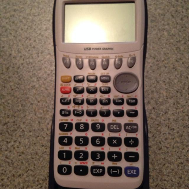 New Casio graphing calculator  http://www amazon com/Casio-fx-9750GII-Graphing-Calculator-White/dp/B00154GSQA