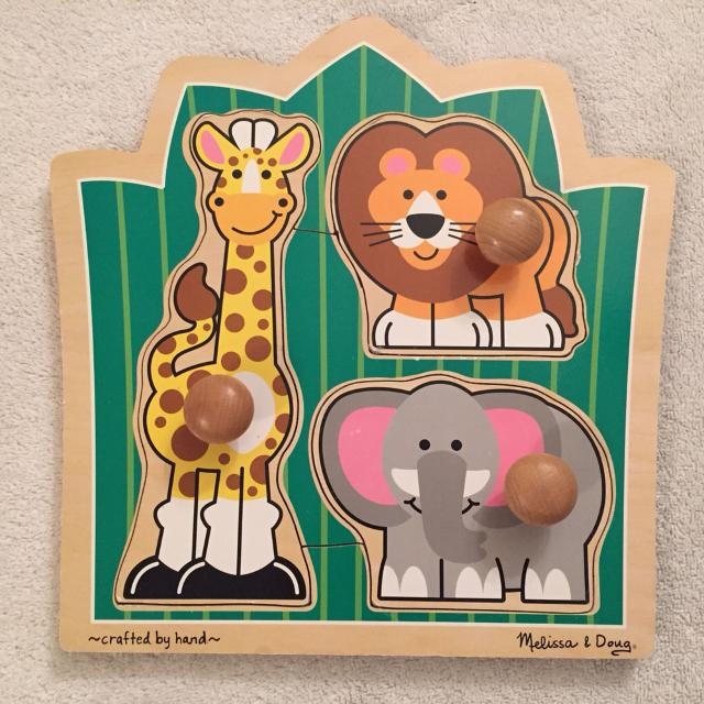 Melissa Doug Jungle Friends Jumbo Knob Wooden Puzzle Features A Giraffe Lion And Elephant Ages 1 Over Great Condition Swapsoiree