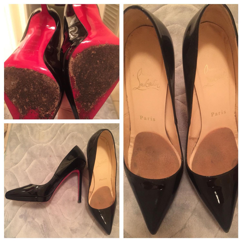 quality design 16b2f 56e1f Used Christian Louboutin black stilettos size 38.5