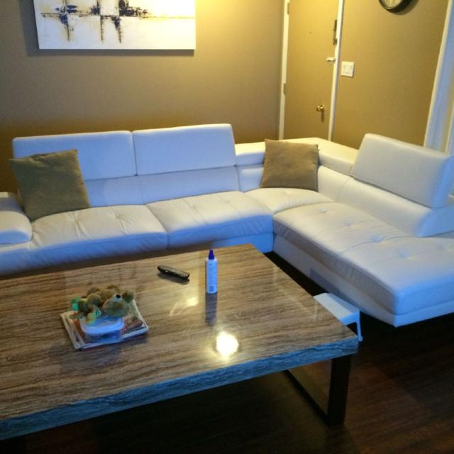 Zane White Leather Sofa