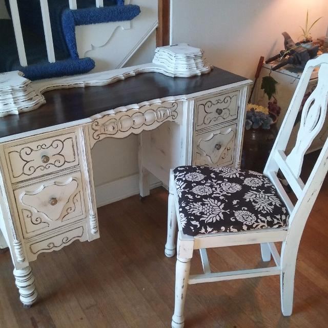 Find More Antique Ladies Vanity Dressing Table With Matching Chair
