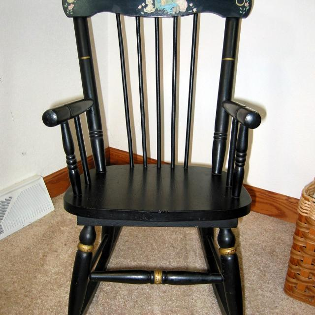 Best Vintage Child's Rocking Chair W/stencil Hitchcock-style Black for sale  in St. Cloud, Minnesota for 2019 - Vintage Child's Rocking Chair W/Stencil Hitchcock-Style Black