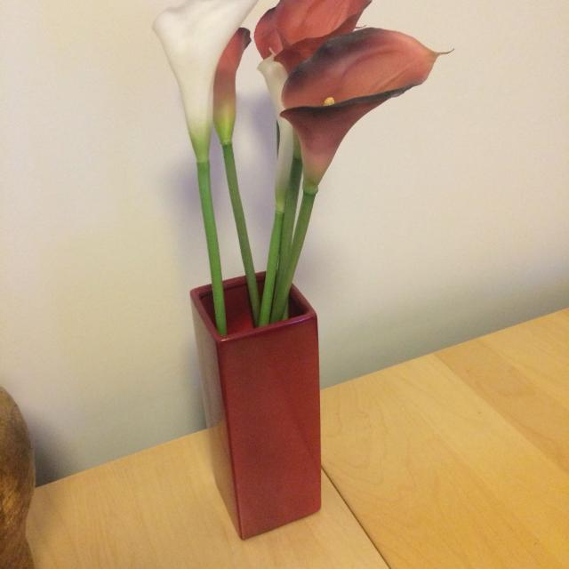 Find More Red Square Vase With Plastic Flowers For Sale At Up To